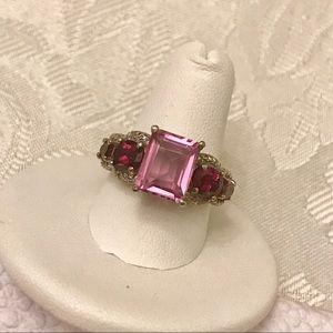 Gorgeous Zambian Garnet and orchid quartz ring